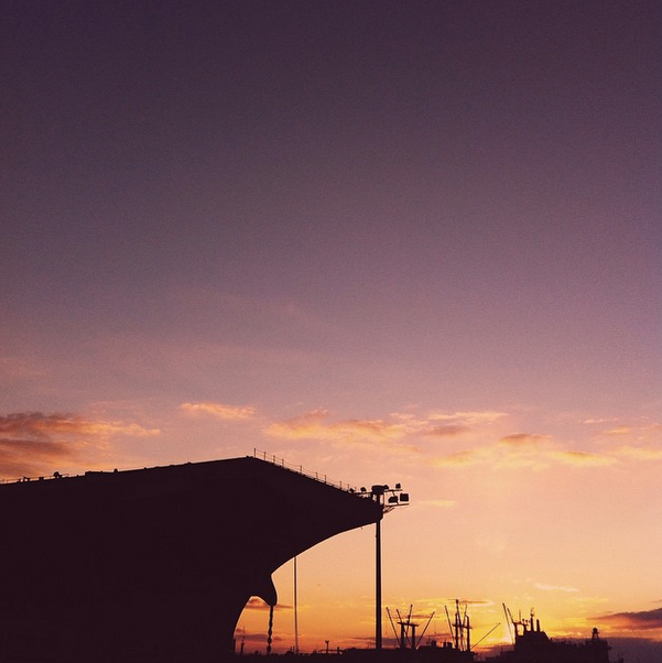 ship sunsets at the navy yard