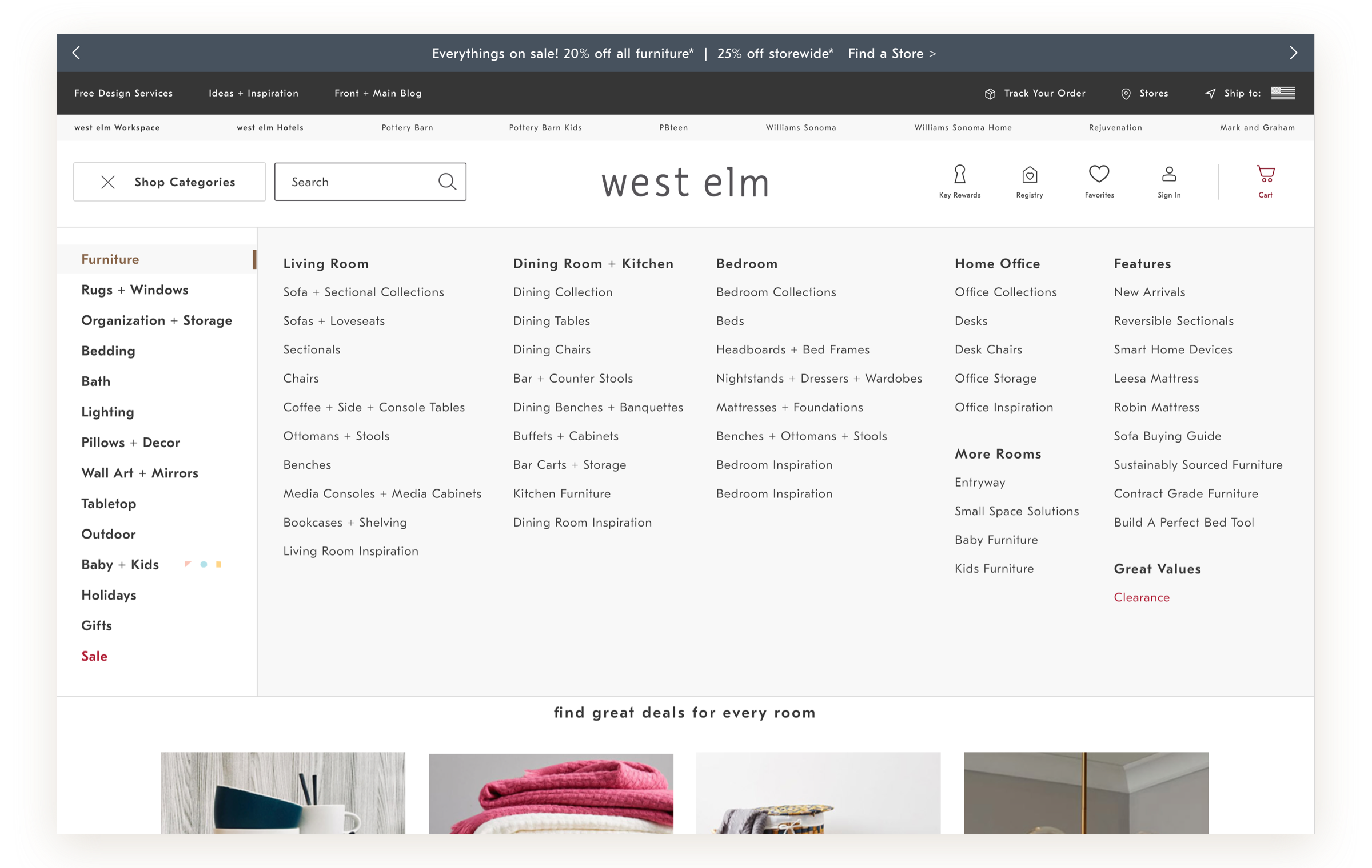 Header Hamburger Test Concept for West Elm