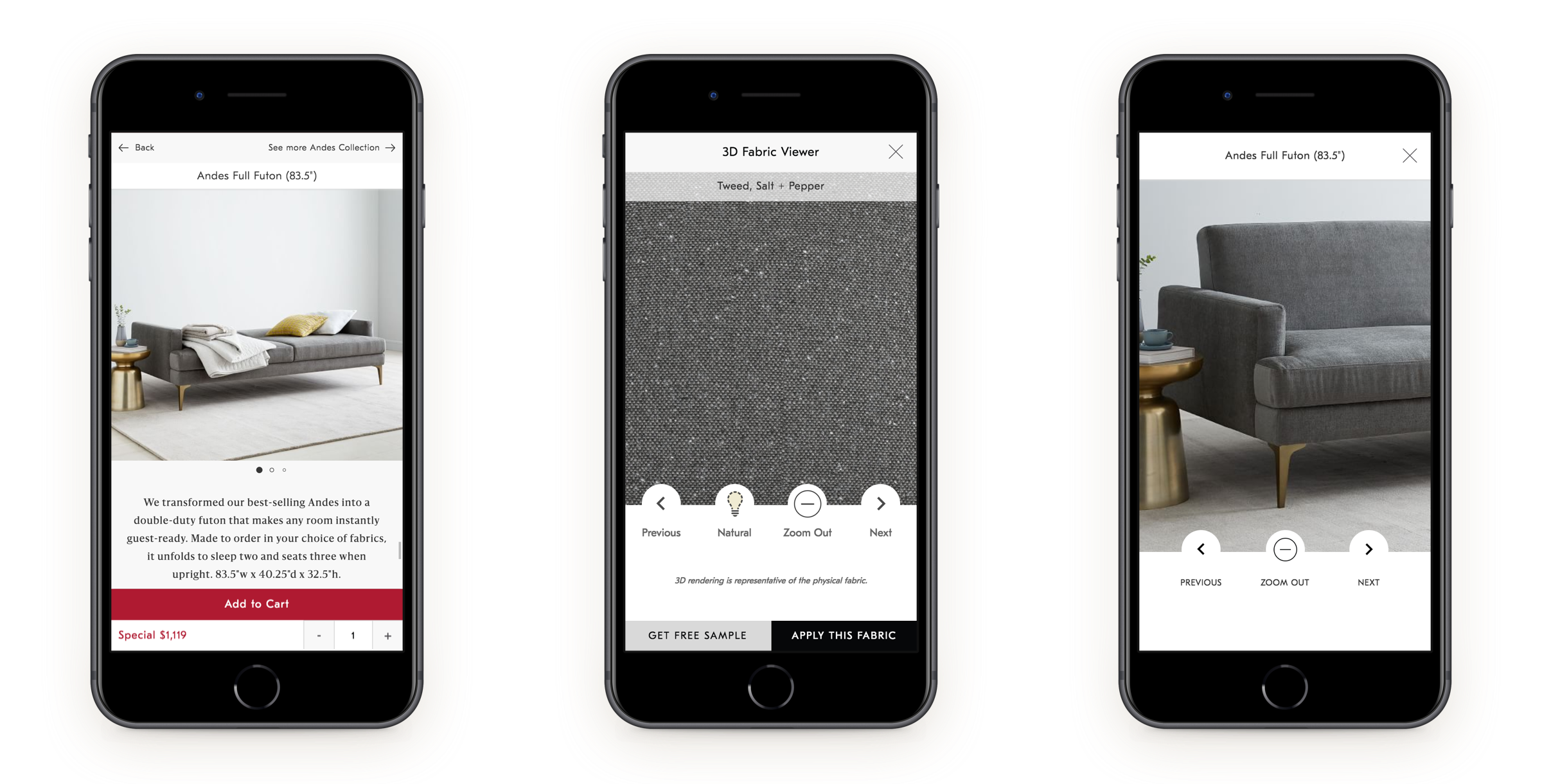 The product detail page for West Elm on Mobile. Views: Hero image, 3D fabric viewer, and zoom.