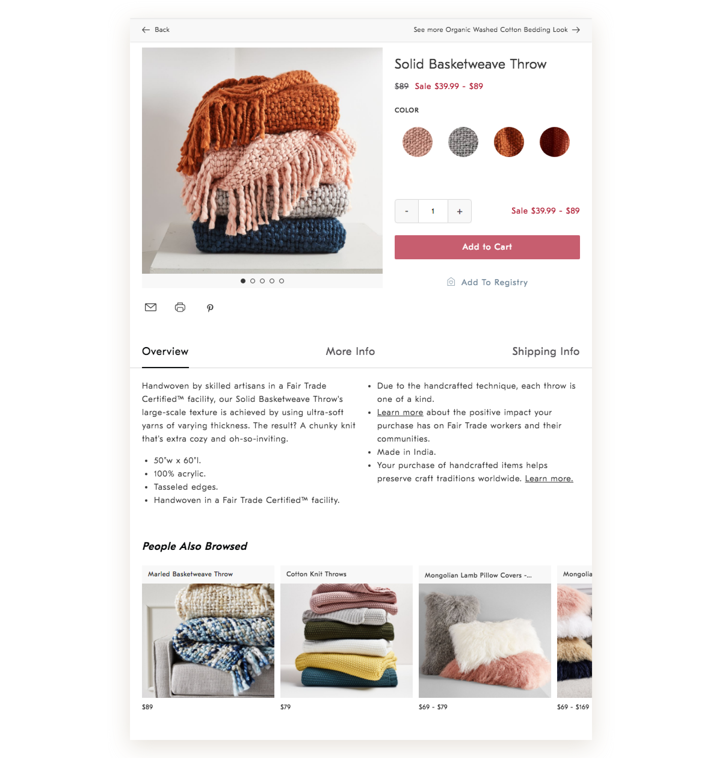 The product detail page for West Elm on a tablet device.