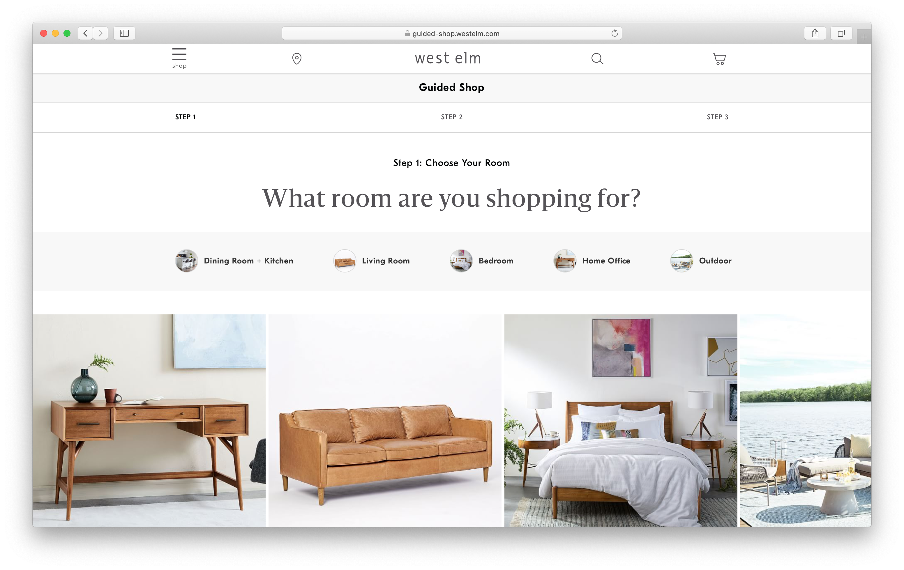 The first step in the West Elm Guided Shop feature where you can pick a specific room: Dining, Bedroom, Kitchen, Home Office, or Outdoor